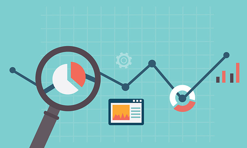 Flat vector illustration of web analytics