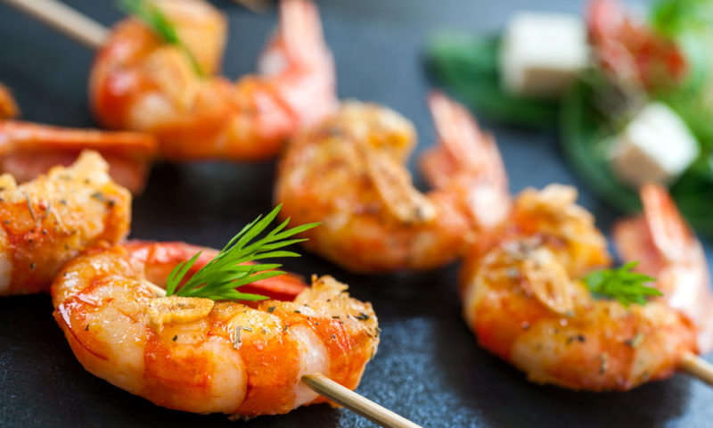 Appetizing queen prawn brochette