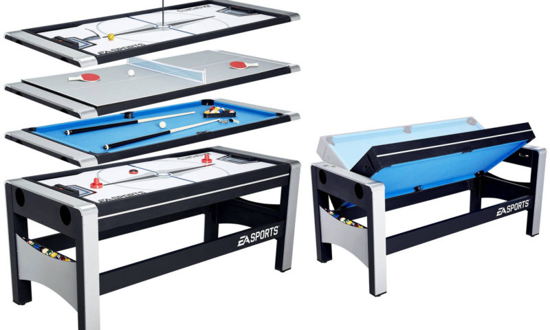 EA Sports 72 Inch 4-in-1 Swivel Combo Table, 4 Games with Hockey, Billiards, Table Tennis and Finger Shoot Basketball $97