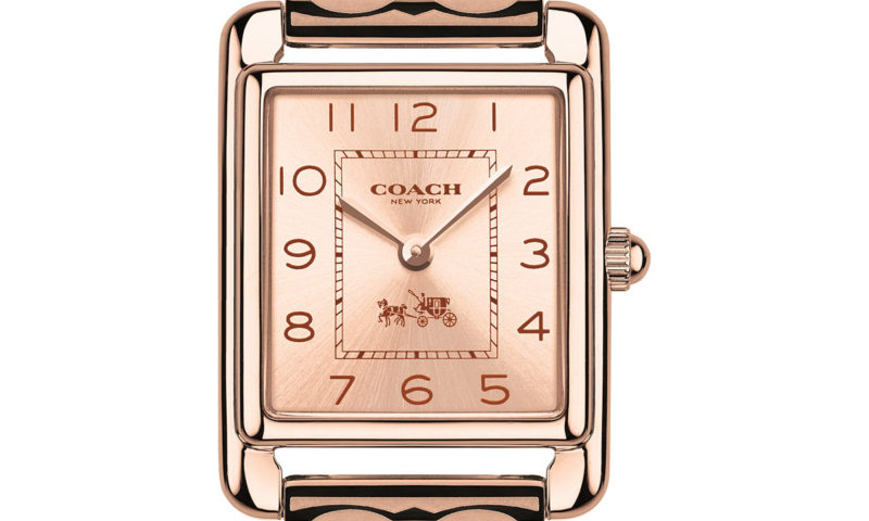 COACH WOMEN'S SIGNATURE ROSE GOLD-PLATED ETCHED BANGLE BRACELET WATCH for $165 from $275