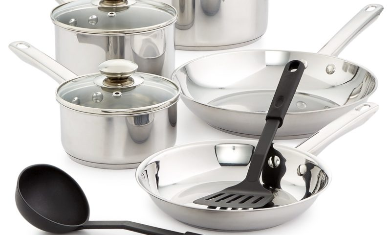 12-Pc. Stainless Steel Cookware Set $30