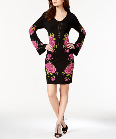 INC International Concepts Floral-Print Sweater Dress for $49 from $110