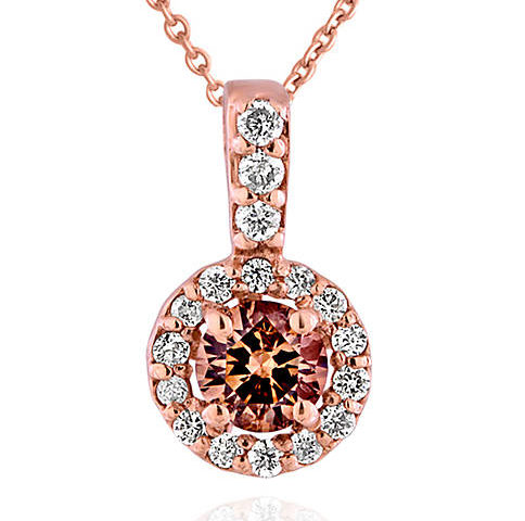 Belk & Co. Brown and White Diamond Pendant in 14k Rose Gold for $625 from $1,250