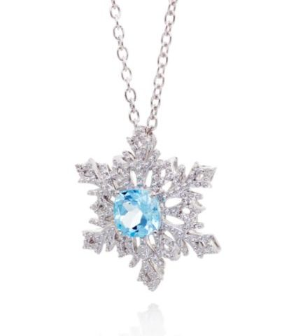 Belk & Co. Blue Topaz and Diamond Snowflake Pendant in Sterling Silver For  Sale $62.50 Orig. $125.00