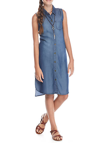 SEQUIN HEARTS girls Chambray Button Front Midi Dress Girls for $8 from $58