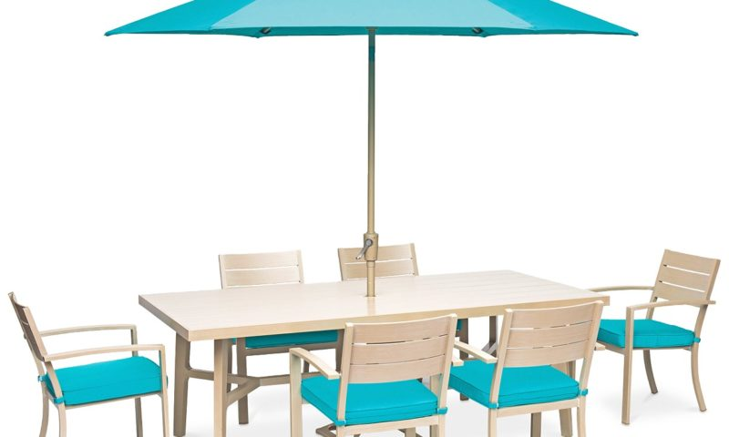 Beach House 7-Pc. Dining Set (84″ x 42″ Dining Table and 6 Dining Chairs), with Sunbrella® Cushions 63% Off