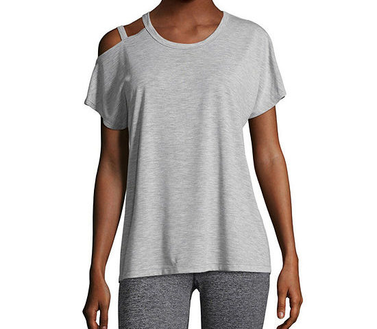 Xersion Studio Off Shoulder Tee for  $5 with promo code GOSAVE4