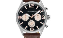 Vince Camuto Leather Strap Black Dial Men's Watch 50% Off