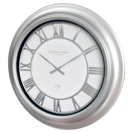 Over-sized Wall Clock, 28 Inch Silver Modern $10 <strike>$40</strike>