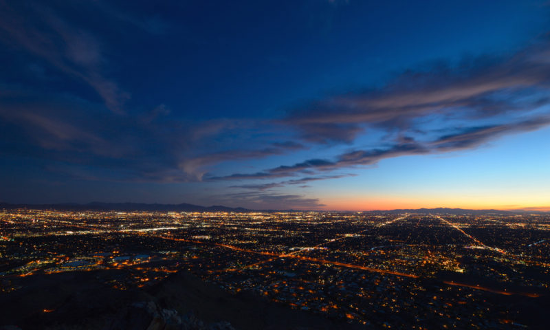 Phoenix city lights at dusk