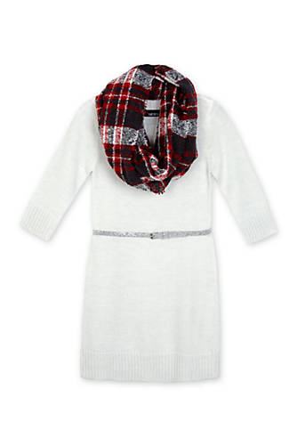 Amy Byer Belted Sweater Dress with Scarf Girls 7-16 for $15 from $58