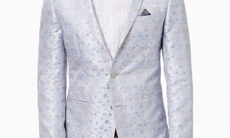 Tallia Orange Men's Modern-Fit Silver Plaid Floral Dinner Jacket for $52.96 from $350.00