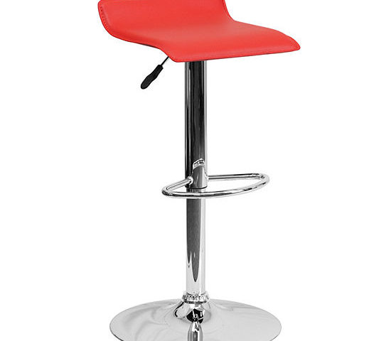 Contemporary Vinyl Adjustable Height Barstool withChrome Base 50% Off