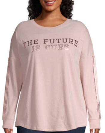"Flirtitude Long Sleeve ""The Future Is Ours"" T-Shirt-Womens Juniors Plus for $7 from $29"