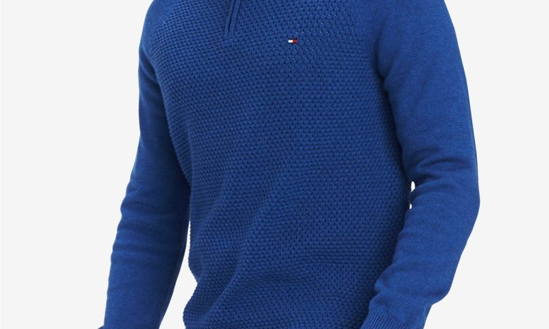 Tommy Hilfiger Men's Waffle Knit Quarter-Zip Sweater 66% Off $29