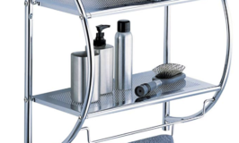 Tier Chrome Bathroom Shelf with Towel Bars $15