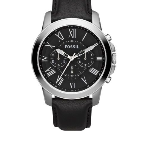 Fossil Mens Stainless Steel and Black Leather Grant Chronograph Watch $42 <strike>$115</strike>