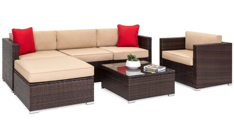 6-Piece Sectional Wicker Sofa Set w/ Accent Chair, Glass Top Table $619 <strike>$1000</strike>