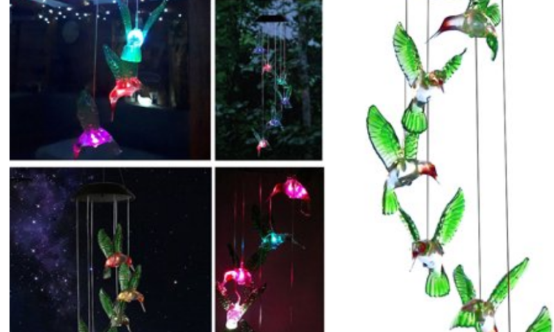 Solar Changing Color Wind Chime, Solar Powered LED Hanging Lamp Windchime Light for Outdoor Indoor Gardening Yard Pathway $14