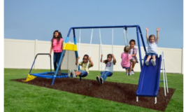 Sportspower Almansor Metal Swing Set with Glide Ride, Trampoline, and 6ft Heavy Duty Slide $199