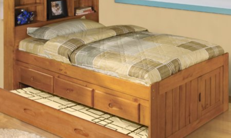 Solid Pine Twin Bookcase Bed with Twin Trundle and 3 drawers in Honey Pine