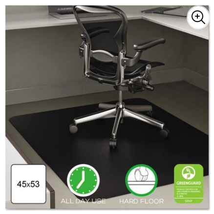 Deflecto EconoMat 45 x 53 Chair Mat for Hard Floor, Rectangular, Black for $58 from $70