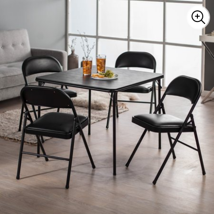Meco Sudden Comfort Deluxe Double Padded Chair and Back- 5 Piece Card Table Set – Black for $176 from $251