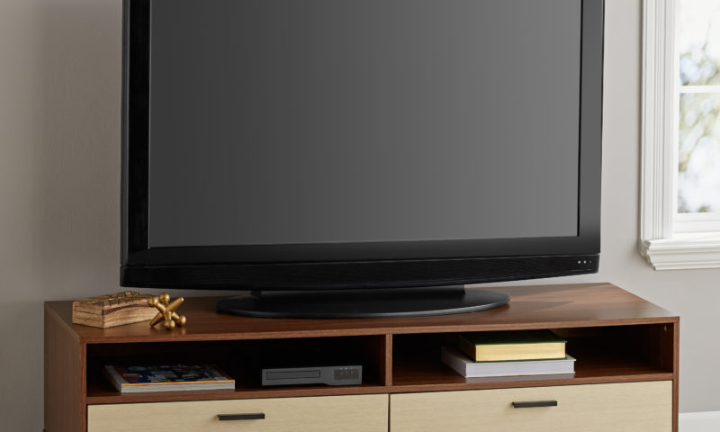 TV Stand for TVs up to 55″, Cocoa and Birch Finish $43