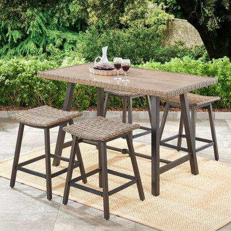 5-Piece Patio Wicker Bar-Height Dining Set $299