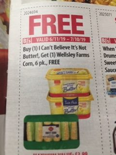 When You Buy (1) Can't Belive It's Not Butter!, Get (1) Wellsley Farms Corn, 6 pk., FREE
