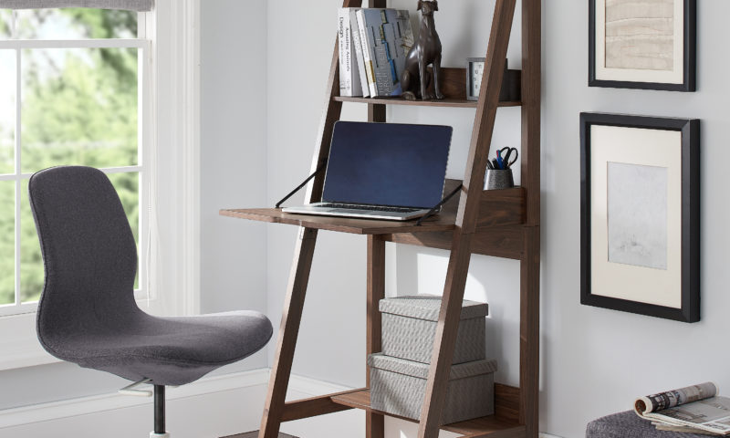 3-Shelf Ladder Desk walnut finish for $30 <strike>$59</strike>
