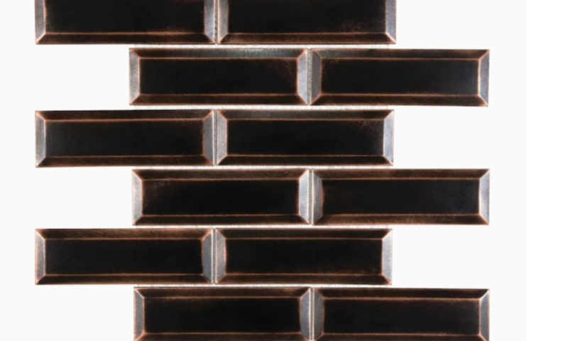 Metal- Bronze 12-in x 12-in Satin Resin Linear Wall Tile $1 (was $5)