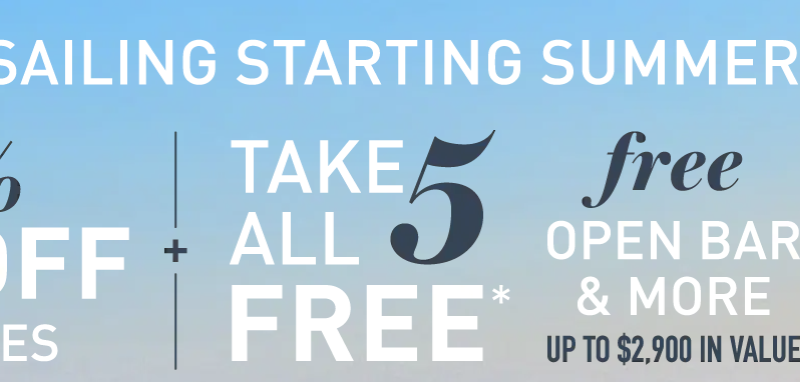30% OFF PLUS 5 FREE AT SEA OFFERS & FREE FLIGHTS with Carnival cruise