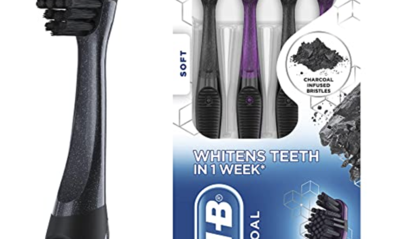 Oral-B Charcoal Toothbrush Whitening Therapy, Soft 4ct