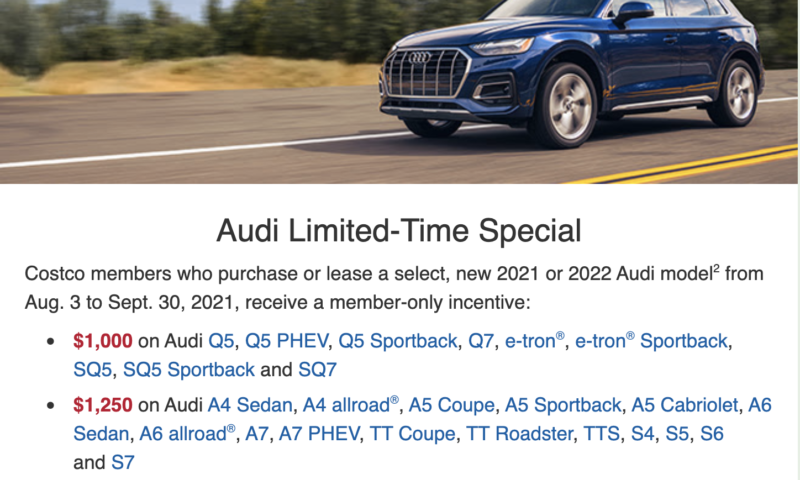 Audi deal from Costco