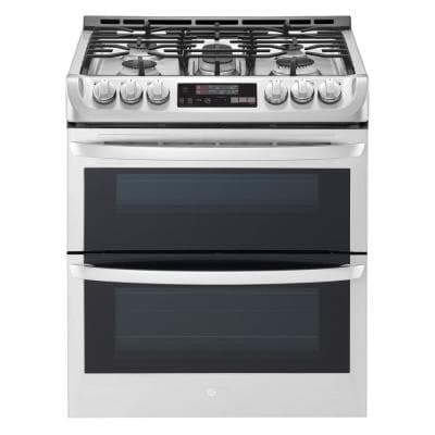 LG 6.9 cu. ft. Smart Double Oven Slide In Gas Range with ProBake Convection and Wi-Fi in Stainless Steel  (is reduced $289.00)