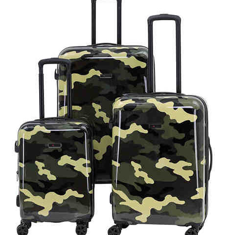 """Spinner Upright Camo Luggage Collection  <span style=""""color:green"""">$55.00</span>  <strike><span style=""""color:red"""">$180.00</span></strike>"""