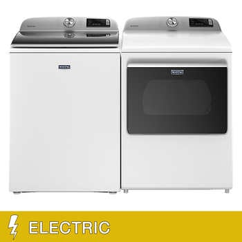 """Maytag 4.7 cu. ft. Washer and 7.4 cu. ft. ELECTRIC Dryer with Extra Power Button in White    <span style=""""color:green"""">$1299.99</span>  <strike><span style=""""color:red"""">$1699.90</span></strike>"""