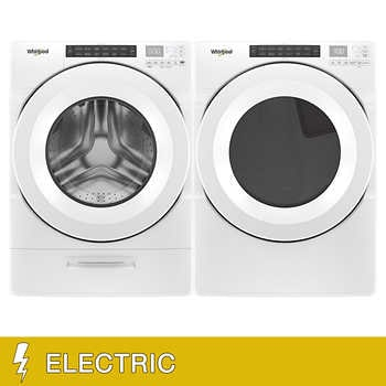 """Whirlpool Front Load 4.5 cu. ft. Washer with Load and Go and 7.4 cu. ft. ELECTRIC Dryer in White    <span style=""""color:green"""">$1349.99</span>  <strike><span style=""""color:red"""">$1699.90</span></strike>"""