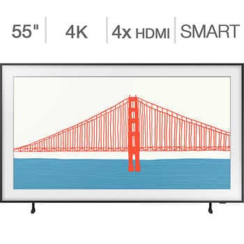 """Samsung 55″ Class – The Frame Series – 4K UHD QLED LCD TV – 24 Month Frame Art Store Subscription Credit Included    <strike><span style=""""color:red"""">$1299.90</span></strike>   Now <span style=""""color:green"""">$999.99</span>"""