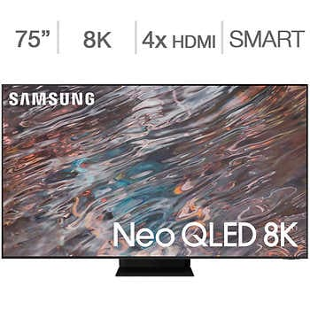 """Samsung 75″ 8K UHD Neo QLED LCD TV – Allstate Protection Plan Bundle Included    <strike><span style=""""color:red"""">$3499.90</span></strike>   Now <span style=""""color:green"""">$3299.99</span>"""
