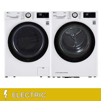 """LG 2.4 cu. ft. ELECTRIC Front Load Washer with Allergiene and 4.2 cu.ft. Front Load Dryer with Built-In Intelligence    <strike><span style=""""color:red"""">$1899.90</span></strike>   Now <span style=""""color:green"""">$1699.99</span>"""